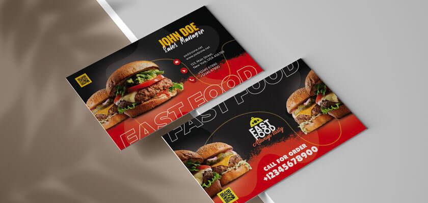 psd, mockup businness card fast food