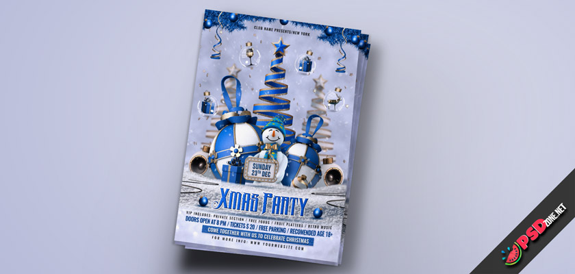 New year party psd template free