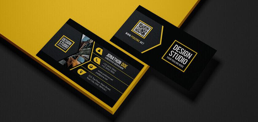 Modern black yellow business card