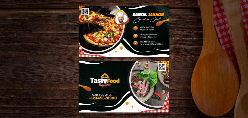 tasty food business card folding
