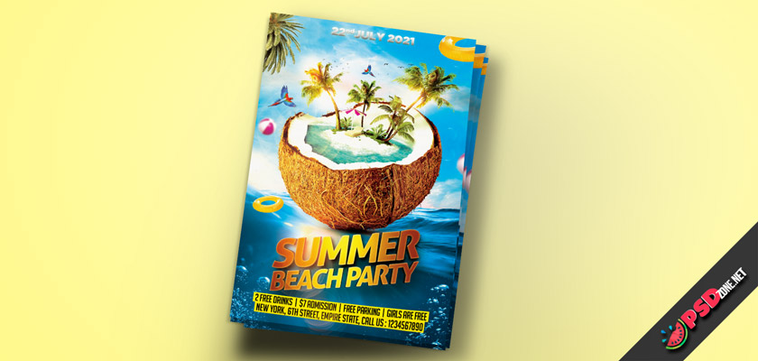beach party flyer promotion psd
