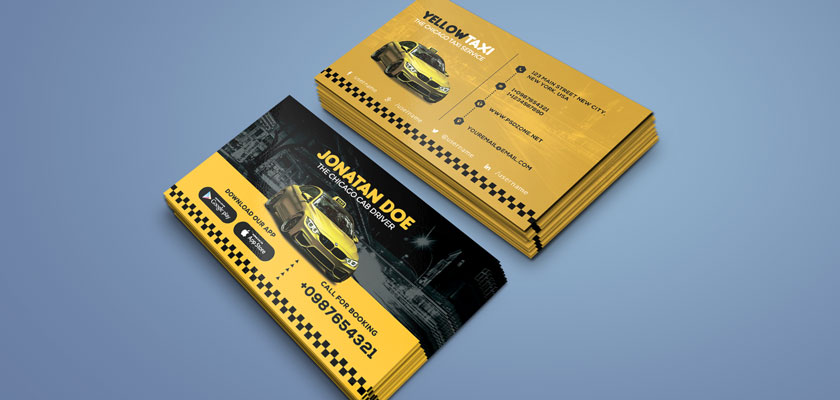 Taxi service, taxi drivers business card