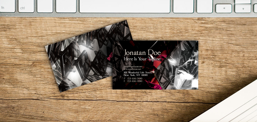 Black Red crystal modern business card
