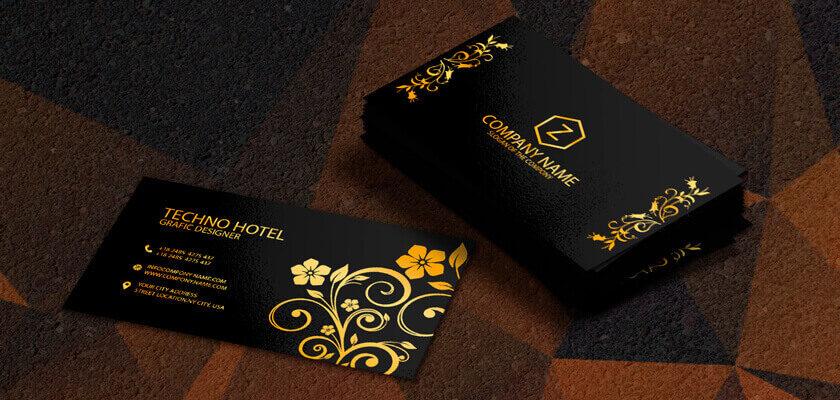 Golden flowers pattern business card