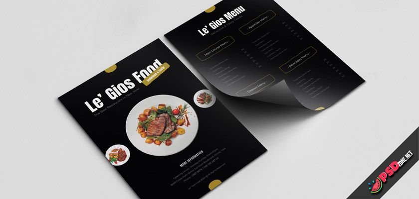 dark restaurant menu template free psd