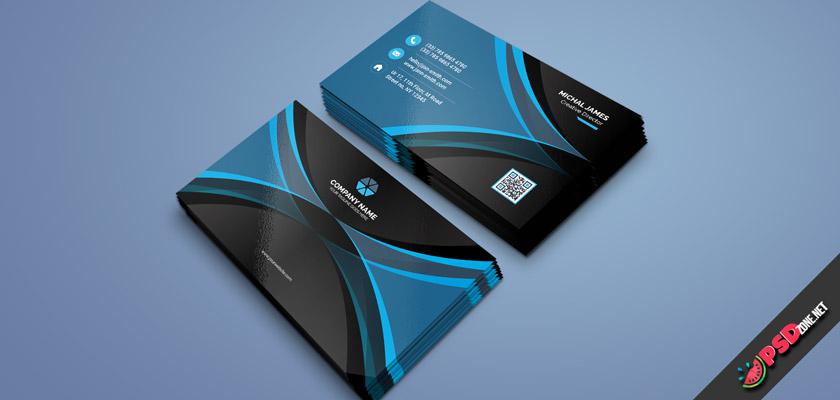Modern Business Card Black & Blue Free PSD