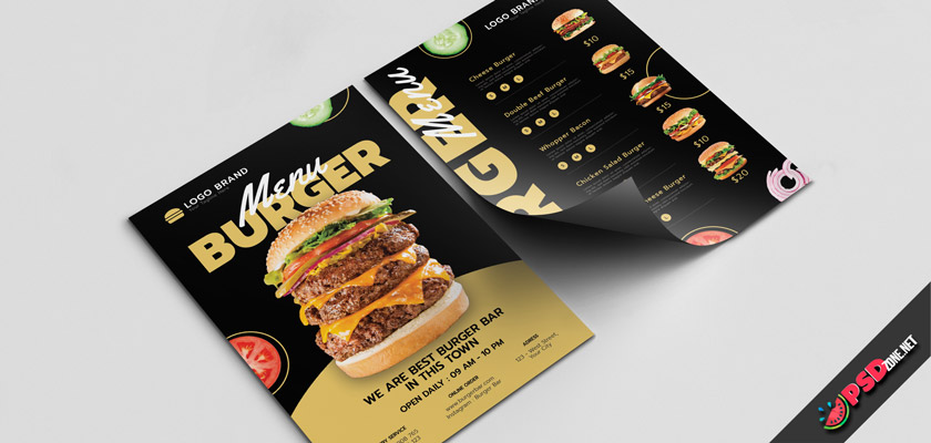 Burger center menu template free