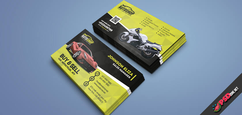 Business card of car rental psd free