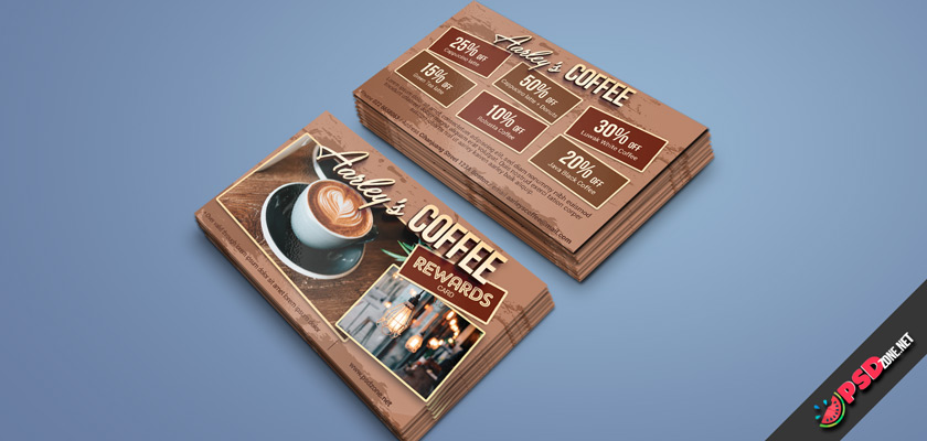 Coffee shop visiting card psd