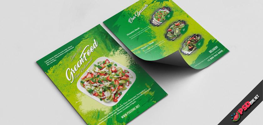 Green food restaurant free menu template