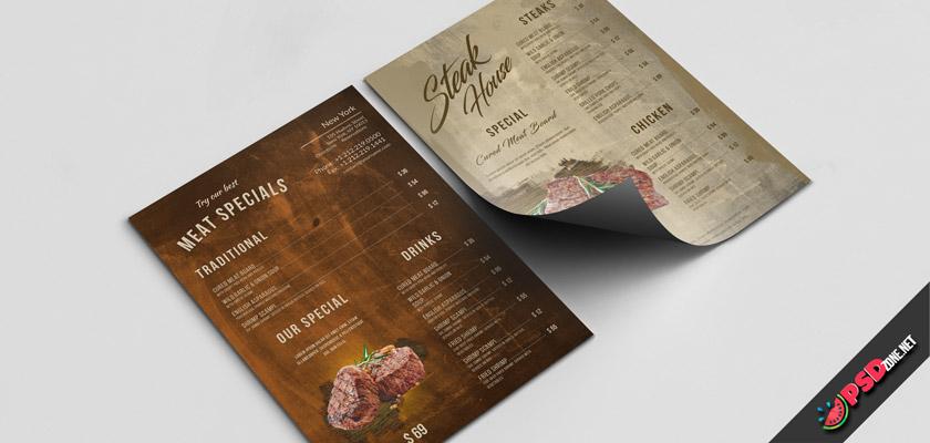 Steak menu free photoshop template