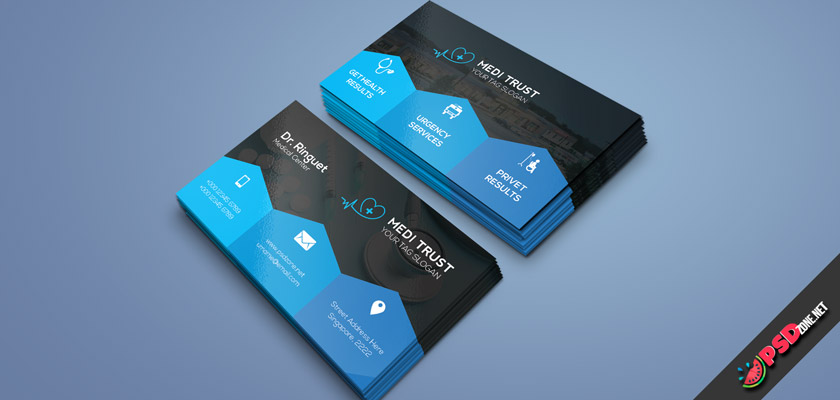 Medical Center Business card PSD