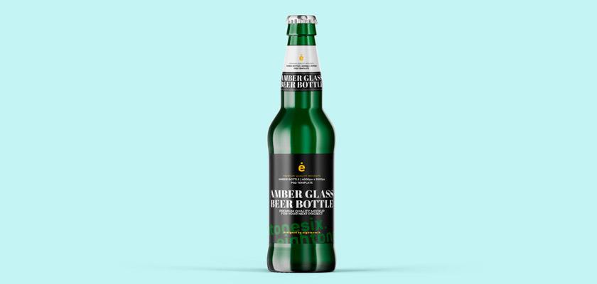 beer glass bottle mockup