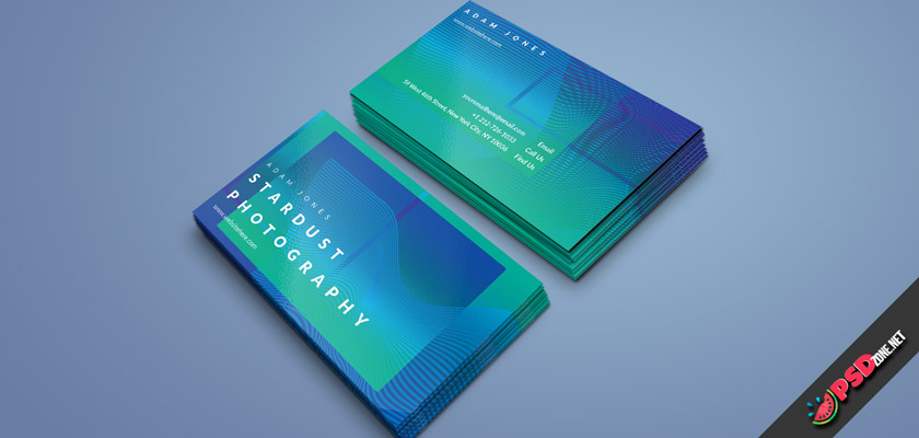 green-blue waves business card free