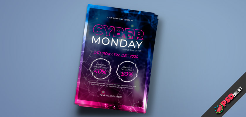 Cyber Monday flyer free psd