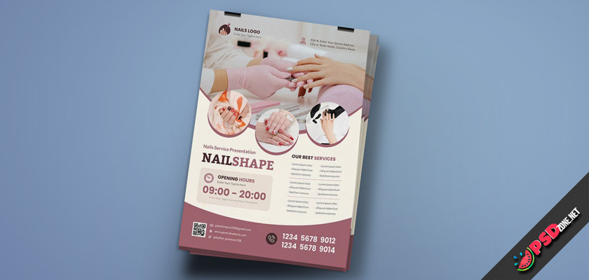 Nail care flyer free psd